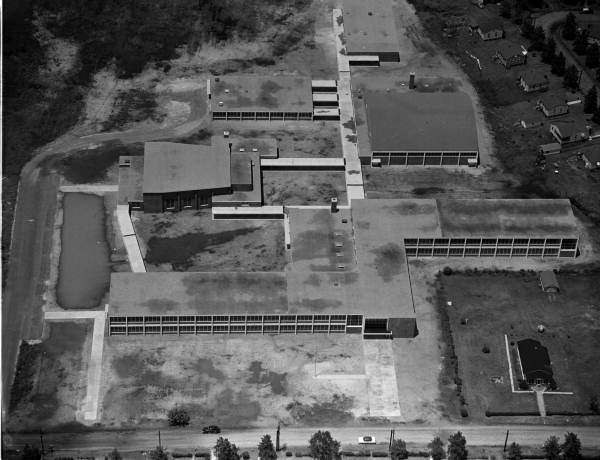 Aerial view of the Stanton High School building - Jacksonville, Florida.