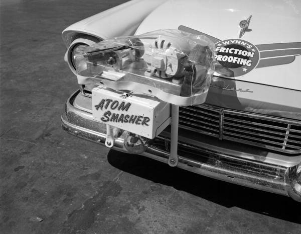 Close-up of the 'Atom Smasher' on the promotional vehicle for Wynn Oil at Richfield gas station - Jacksonville, Florida.
