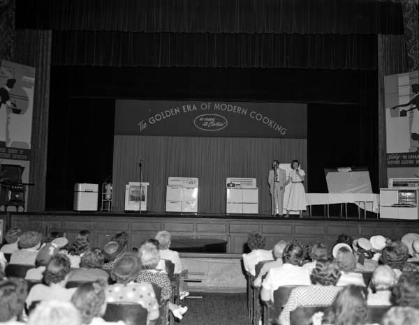 Demonstration of electric cooking appliances in the Florida Theatre - Jacksonville, Florida.