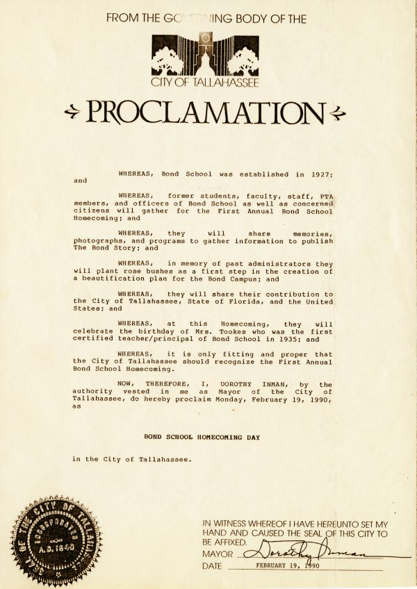 City of Tallahassee proclamation declaring Monday, February 19, 1990 as Bond School Homecoming Day.