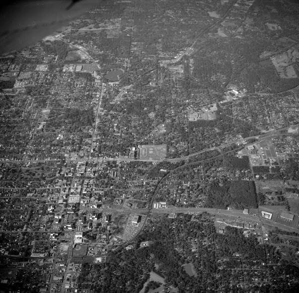 Aerial view looking north over downtown Tallahassee, Florida.
