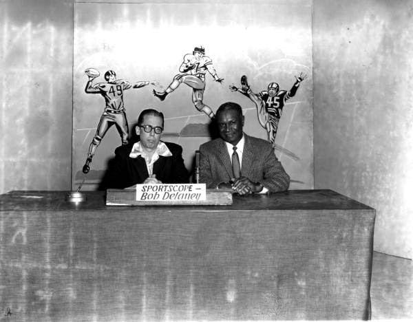 WCTV sports announcer Bob Delaney and FAMU football coach Jake Gaither - Tallahassee, Florida .