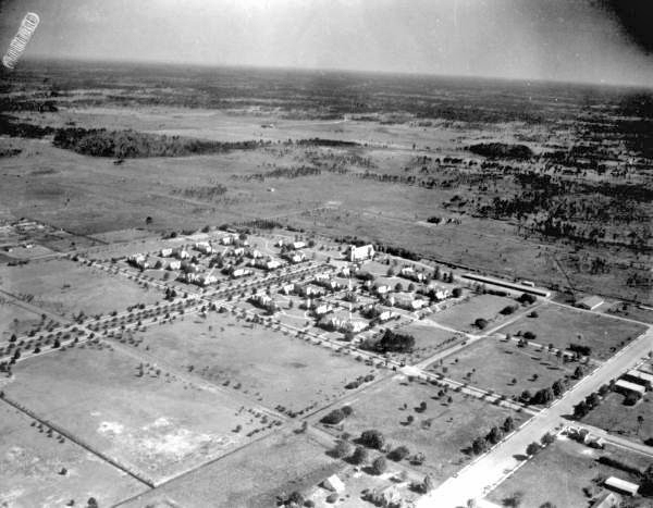 Aerial view of a neighborhood at Penney Farms.