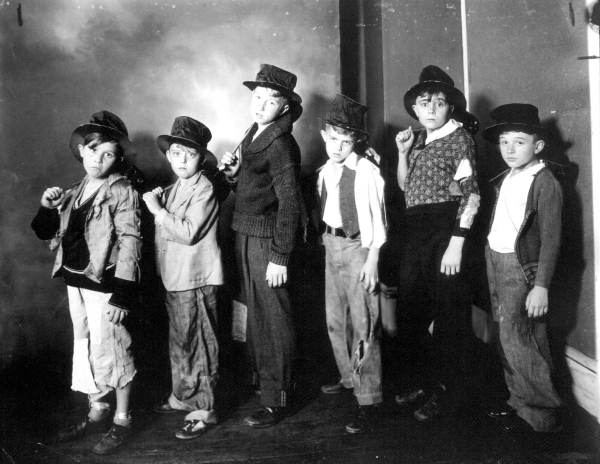 Boys dressed as street urchins from Miss Bagley's dance class.