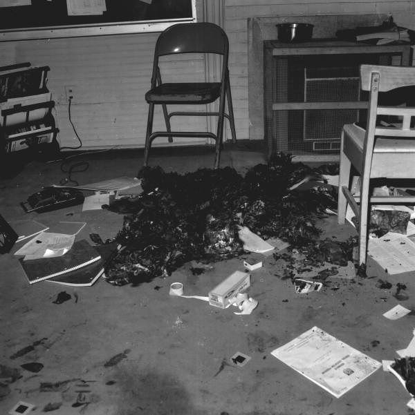 View of fire damage from arson at an African American school in Tallahassee, Florida.