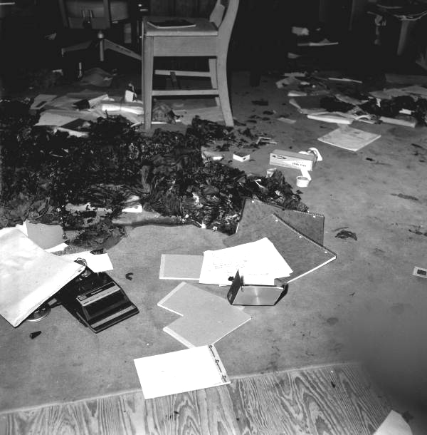 Close-up view showing fire damage from arson at an African American school in Tallahassee, Florida.