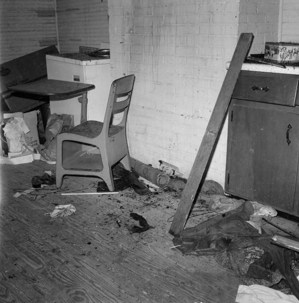 View showing some of the damage from arson at an African American school in Tallahassee, Florida.